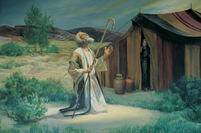 Abraham on the plains of Mamre (Grant Romney Clawson, (c) IRI).jpg